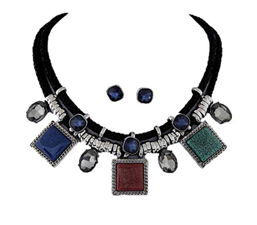 (African Bead Jewelry Set (Multi Collar Geometric Necklace Earrings))