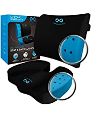 $39 » Everlasting Comfort Memory Foam Seat Cushion and Lumbar Pillow Combo - Gel Infused and Ventilated - Back Pain Relief