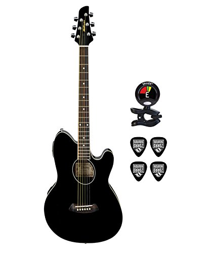 Ibanez Talman TCY10 6 Strings Preamp w/Built in Tuner Acoustic Electric Guitar Bundle in Black With Clip On Tuner and Instrument Cable Guitar Package