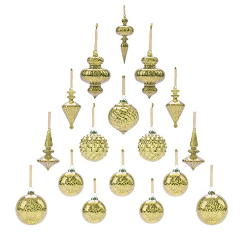 Youseexmas Mouth Blown Glass Christmas Ornaments Pack of 17 MEDIUM Size (golden)