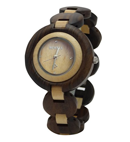 Price comparison product image Two-Tone RoundFace Handmade Wooden Watch Made with Natural Brown & Maple Sandalwood - HGW-050
