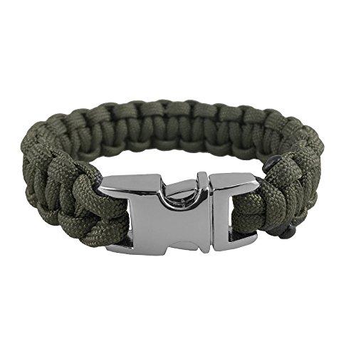 Braid Green Bracelet - 550 Mil-Spec Type III Paracord Survival Bracelet with Metal Alloy Buckle (Chrome) - OD GREEN