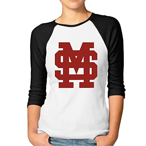 Price comparison product image GUC Women's 3 / 4 Sleeve T-shirts - Mississippi University Bulldogs Black S