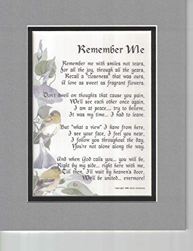 Genie's Poems Memorial Gift, 96, Touching 8x10 Bereavement Poem, Double-matted in Gray Over Black Enhanced with Watercolor Graphics. A Sympathy Gift.