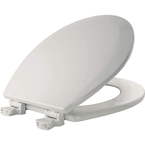 Bemis 500ec000 Molded Wood Round Toilet Seat With Easy Clean And Change Hinge White