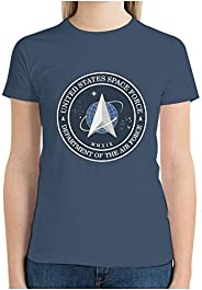 Woman's Cotton T-Shirts United States Space Force Design Short Sleeve O Neck Novelty T-Sh