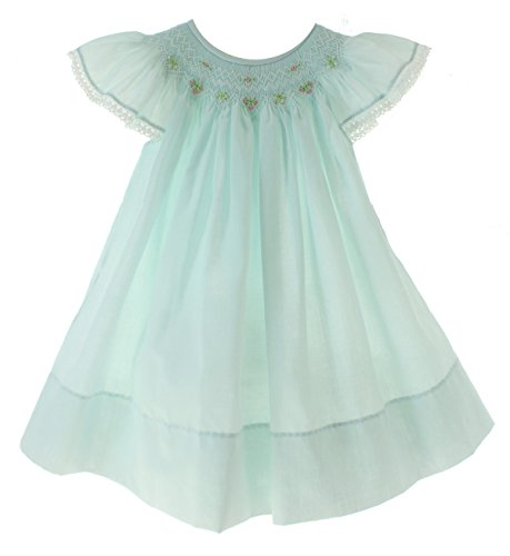 Girls Blue Smocked Angel Wing Easter Dress (Flutter Smocked Dress)