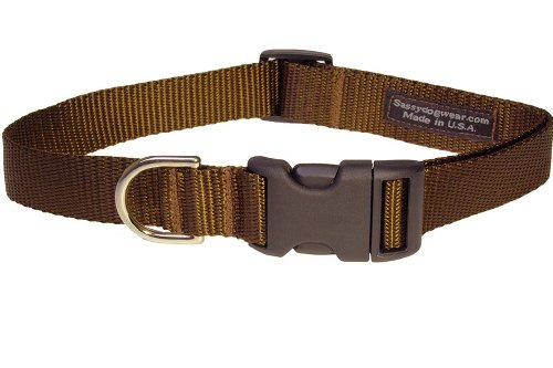Sassy Dog Wear 10-14-Inch Brown Nylon Webbing Dog Collar, Small