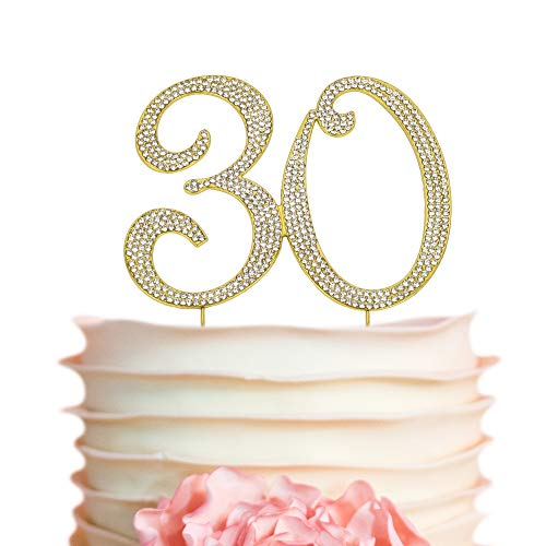 30 GOLD Cake Topper | Premium Sparkly Crystal Rhinestone Diamond Crystal Gems | 30th Anniversary or Birthday Cake Topper Decoration Ideas | Perfect Keepsake (30 Gold)]()