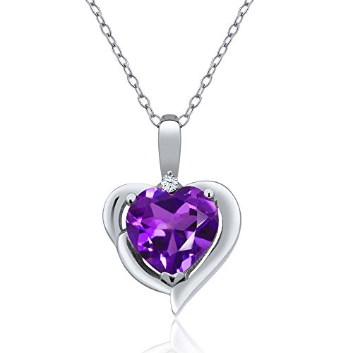 (Gem Stone King Purple Amethyst and White Topaz 925 Sterling Silver Pendant Necklace 1.42 Ctw Heart Shape with 18 Inch Silver Chain)