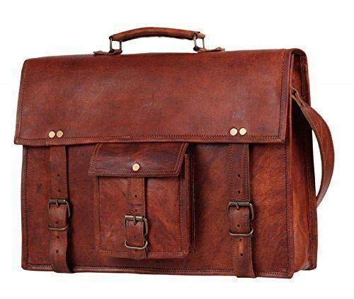 17 inch Vintage Men's Brown Handmade Leather Briefcase Best Laptop Messenger Bag Satchel by Handmadecraft