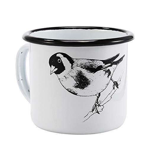 Yanluzz350Ml Enamel Coffee Cup Creative Animal Plant Breakfast Cup Black Curling And Handle Milk Teacup G ()