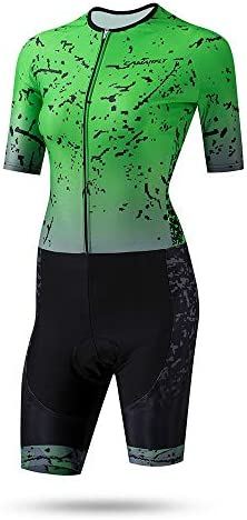 サイクルジャージ 女性のトライアスロンスーツ夏の乗馬半袖スーツレディーススケートスーツ水分吸収通気性UV保護 吸汗速乾高通気 (色 : 緑, サイズ : M)