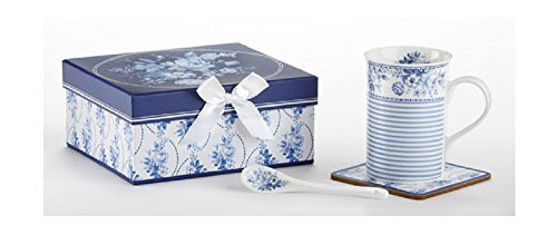 Delton Products English Blue Porcelain Mug-Coaster-Spoon Set in Gift Box Novelty