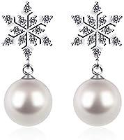 D.Perlla Orecchini in Argento 925 Donna Perla a Forma di Fiocco di Neve, Regali Natale