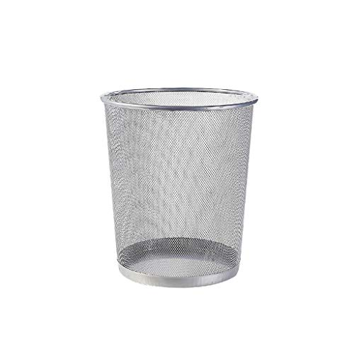 Z&WW Barbed Wire Without Cover Waste Paper Trash Can Metal Hollow Kitchen Bathroom Garbage Bin (Color : Silver, Size : M)
