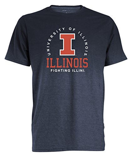 (Camp David NCAA Illinois Illini Men's Dip Dyed Heather Tee, Medium, Marine)