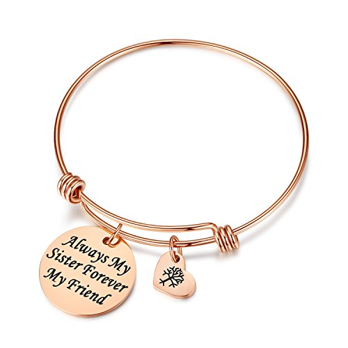 Studiocc Women Girls Jewelry Always My Sister Forever My Friend Bracelet with Heart Tree of Life, Birthday Gifts for Sister, Friendship, Big Sister Small Sister Bracelet (Sister-Rose Gold)