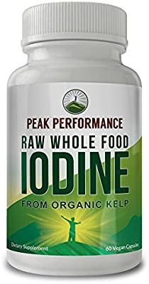 Raw Whole Food Iodine from Organic Kelp (Ascophyllum Nodosum) by Peak Performance. Thyroid Support Supplement. Great Metabolism Booster, Energy and Immune Boost - 60 Vegan Capsules