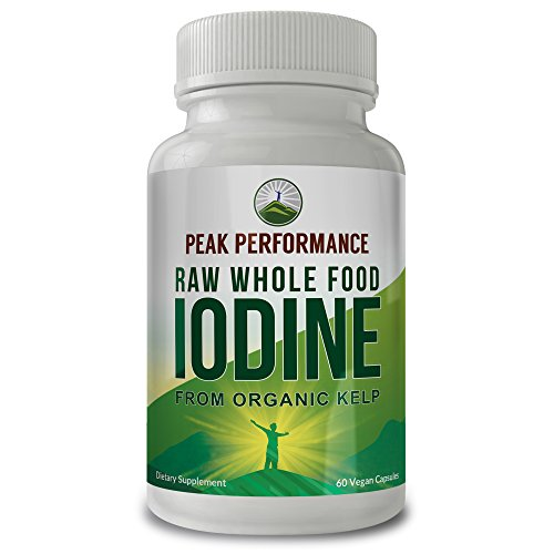 Raw Whole Food Iodine from Organic Kelp (Ascophyllum Nodosum) by Peak Performance. Thyroid Support Supplement. Great Metabolism Booster, Energy and Immune Boost - 60 Vegan Capsules (Organic Iodine Supplement)