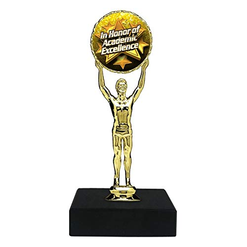 Express Medals 6 inch Academic Excellence Trophy Award on Personalized Marble Base FCL401 (5-Pack)
