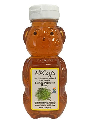 Raw Honey - Pure All Natural Unfiltered & Unpasteurized - McCoy's Honey Florida Palmetto Honey 12oz ()