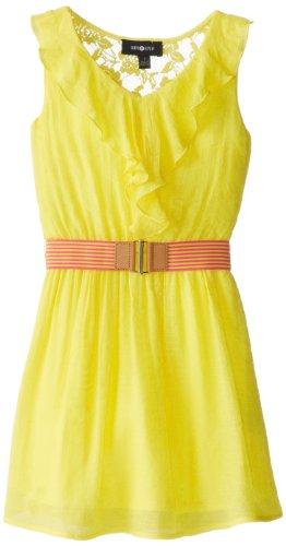 Amy Byer Girls 7-16 Gauze Ruffle Front Dress, Yellow, 12