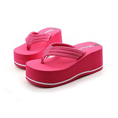 Angel love beauty Sandalias de Verano de Las Mujeres Zapatillas de Deporte Interior Flip-Flops Zapatillas de Playa (Color : Black, Size : 37 1/3EU) Red