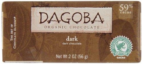 DAGOBA Organic Chocolate Candy Bar, Dark (Pack of (59% Organic Dark Chocolate)