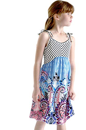 (Truly Me, Big Girls' Sleeveless Empire Waist Stripe Floral Printed Maxi Dress, Size 7-16 (Multicolor, 12))