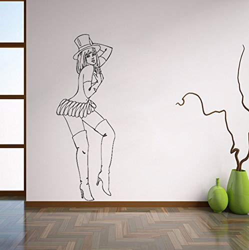 Pbldb Hot Sexy Retro Pin Up Girl Wall Decals Beautiful Woman Wall Sticker for Bedroom Removable Art Mural Home Decoraion 21X59Cm]()