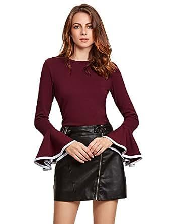 SheIn Women's Contrast Trim Bell Sleeve T-Shirt Top X-Small Burgundy