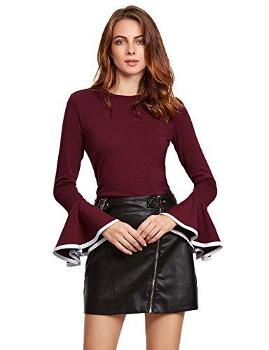 SheIn Womens Contrast Trim Bell Sleeve T-Shirt Top