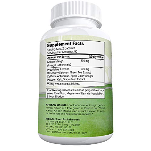 African Mango Extract Cleanse (180 Capsules) Plus Raspberry Ketones & Green Tea Complex, Irvingia Gabonensis Seed Fat…