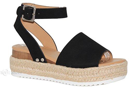 MVE Shoes Women's Ankle Strap Flat Espadrilles - Cute Summer Platforms Sandals - Studded Casual Shoes, Black nbpu Size 5.5