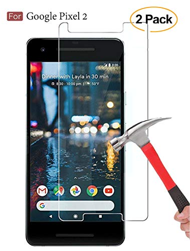 [2 Pack] Google Pixel 2 Screen Protector,DeFitch Case Friendly Ultra Clear Anti-Scratch Bubble Free Tempered Glass Screen Protector with Lifetime Replacement Warranty (Best Google Pixel 2 Screen Protector)