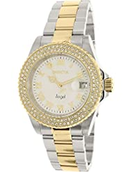 Invicta Womens Angel Gold-Tone Steel Bracelet & Case Swiss Quartz White Dial Analog Watch 20503