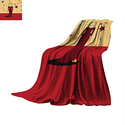 Angoueleven Warm Blanket Star Girl in red Long Evening Dress on red Carpet Throw Blanket 60