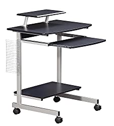 Perfect as Home Office Desk or Kids Computer Desk. Made of MDF Wood with Scratch resistant powder coated steel frame. Includes large double-wheel non-marking locking casters. Adjustable shelf to center, right or left of table. Features pullout keyboa...