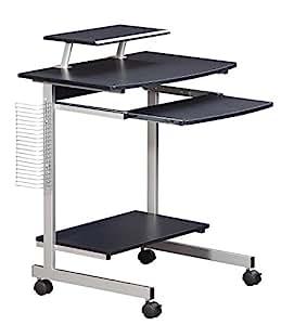 Mobile & Compact Complete Computer Workstation Desk. Color: Graphite