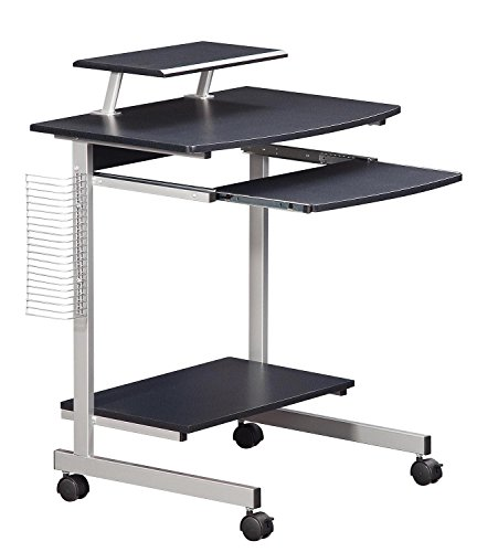 Mobile & Compact Complete Computer Workstation Desk. Color: Graphite - Basic Computer Table