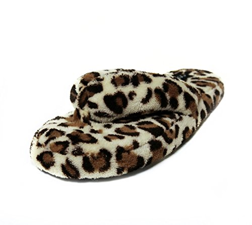 Ladies Leopard Flip Flop Thongs (Onmygogo Fluffy Animal Print Flip-flops for Women Slide House Fleece Slippers (US women size 8-9, Yellow Leopard))