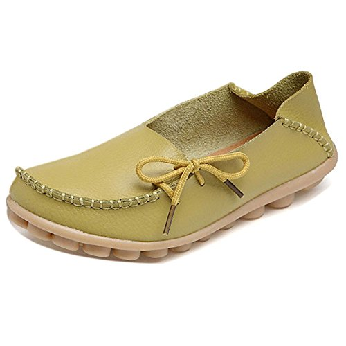 LONSOEN Women Moccasin Driving Shoes Casual Solid Leather Loafer and Slip On Boat Flats Apple Green