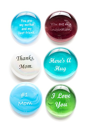 Love Stone Plaque - Glass Stones for Mom, Tell Your Mother How Much You Love Her Six Times With This Thoughtful Gift. Deluxe Gift Box.By Lifeforce Glass.