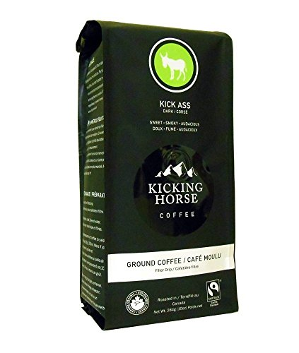 Kicking Horse Ground Coffee, Kick Ass Dark Roast, 10 Ounce (Pack of 2)