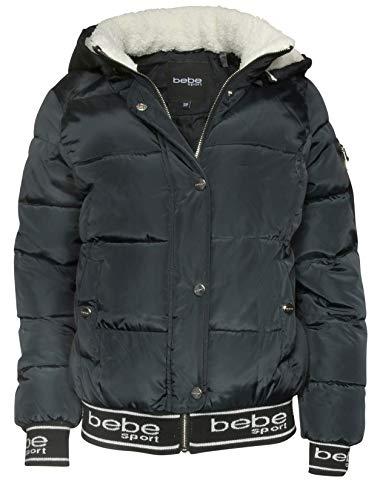 Amazon.com: BEBE SPORT Womens Bomber Bubble Jacket with Detachable Sherpa Lined Hood: Clothing