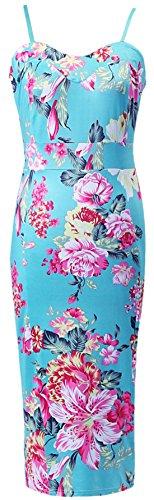erdbeerloft–Mujer Mujer Elegante Vestido/Pencil Portadores de Midi Dress, Espagueti, con gran flor Duck, 36–�?2, multicolor