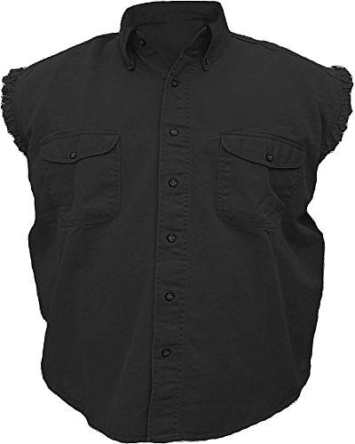 Mens Sleeveless Denim Twill Biker Shirt Black (Biker Costume Guy)