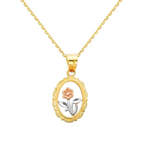 3 Color Gold Polished Flower Charm Pendant with 0.9mm Oval Angled Cut Cable Chain Necklace - 20