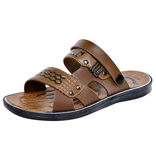 Corriee Mens Walking Shoes Flats Summer Casual Beach Slippers Mens Fashion Outdoor Sandals Brown